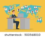 businessman connected with his... | Shutterstock .eps vector #503568010