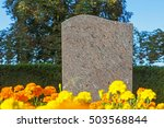 Empty Gray Granite Gravestone...