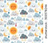 cute cartoon pattern with... | Shutterstock .eps vector #503578246