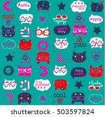 cute cats colorful pattern | Shutterstock .eps vector #503597824