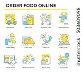 order food on line icons  thin... | Shutterstock .eps vector #503609098