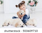 child with little dogs playing... | Shutterstock . vector #503609710