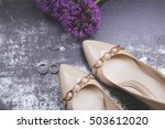 beige patent leather shoes with ... | Shutterstock . vector #503612020