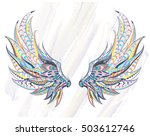 patterned wings on the grunge... | Shutterstock .eps vector #503612746