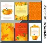 set of happy thanksgiving day... | Shutterstock .eps vector #503618569