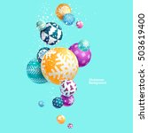 3d multicolored christmas balls.... | Shutterstock .eps vector #503619400
