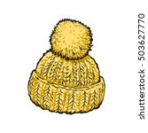bright yellow winter knitted...   Shutterstock .eps vector #503627770