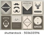 set of brochures in hipster... | Shutterstock .eps vector #503633596
