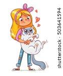 girl hugging the kitten. vector ... | Shutterstock .eps vector #503641594