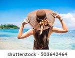 woman in summer vacation... | Shutterstock . vector #503642464