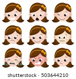 girl emotion faces cartoon.... | Shutterstock .eps vector #503644210