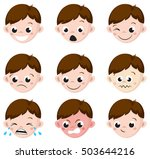 boy emotion faces cartoon.... | Shutterstock .eps vector #503644216