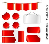 red ribbons set isolated on... | Shutterstock .eps vector #503664079