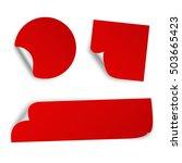 set of three paper sticker...   Shutterstock . vector #503665423