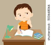 cute boy writing and thinking.... | Shutterstock .eps vector #503668066