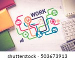 business workplace with devices ... | Shutterstock . vector #503673913
