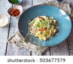 fresh pasta with chicken and... | Shutterstock . vector #503677579