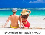 back view of couple sitting on... | Shutterstock . vector #503677930