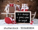sleigh with gifts  snow ... | Shutterstock . vector #503680804