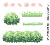 Shrubs Grass And Flower Vector