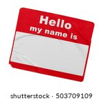 used wrinkled hello tag... | Shutterstock . vector #503709109