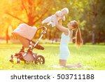 cute little baby in summer ... | Shutterstock . vector #503711188