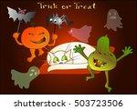 two halloween pumpkins with bat ... | Shutterstock .eps vector #503723506