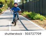 happy aussie boy riding his... | Shutterstock . vector #503727709