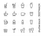 Drinks and Beverages icons with White Background | Shutterstock vector #503746624