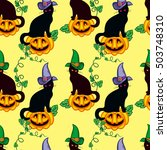 seamless pattern with black cat ... | Shutterstock . vector #503748310