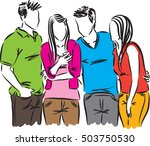 teenagers with a cellphone... | Shutterstock .eps vector #503750530