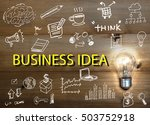 light bulb and drawing business ... | Shutterstock . vector #503752918