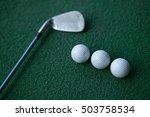 golf clubs and golf balls on a... | Shutterstock . vector #503758534