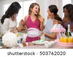 pregnant woman with multi... | Shutterstock . vector #503762020
