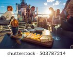 people eating cheese and... | Shutterstock . vector #503787214