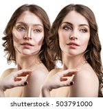 young woman with contouring...   Shutterstock . vector #503791000