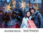 christmas shopping together.... | Shutterstock . vector #503794054