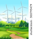 scene with wind towers in the... | Shutterstock .eps vector #503795479