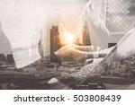 double exposure business team... | Shutterstock . vector #503808439