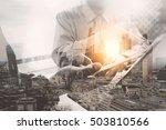 double exposure business team... | Shutterstock . vector #503810566