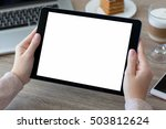 woman hands holding tablet pc... | Shutterstock . vector #503812624