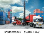 forklift lift container box... | Shutterstock . vector #503817169