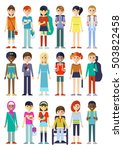 set of eighteen isolated full... | Shutterstock .eps vector #503822458