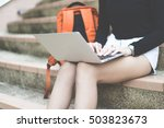 smiling college student sitting ... | Shutterstock . vector #503823673