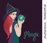 fortune teller. halloween.... | Shutterstock .eps vector #503824918