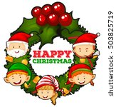 christmas theme with mistletoes ... | Shutterstock .eps vector #503825719