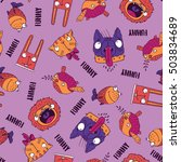 seamless pattern with funny...   Shutterstock . vector #503834689