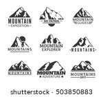hand drawn mountains logo set.... | Shutterstock .eps vector #503850883