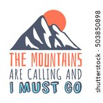 hand drawn mountains logo. ski... | Shutterstock .eps vector #503850898