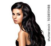 beautiful   young brunette... | Shutterstock . vector #503855488
